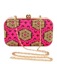 Pink & Brown Brocade Embroidered Clutch #indianroots #bags #clutch #brocade #embroidered #occasionwear #eveningwear
