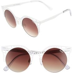 7ec44a53af44 QUAY AUSTRALIA Fleur 49mm Round Sunglasses ($25) ❤ liked on Polyvore  featuring accessories, eyewear, sunglasses, metal glasses, rounded  sunglasses, cut out ...