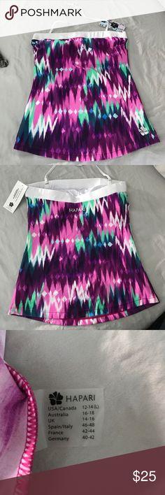 Hapari Tankini swim top Bandeau Tankini Top with removable strap. Purple, pink and green with white wide band at top. Hapari Swim Bikinis