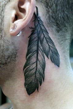 Feather Tattoos On Back Of Man's Neck #tattoosonneckback