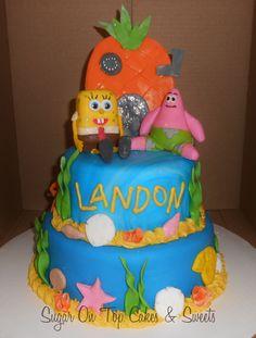 Spongebob Birthday Cake with Patrick!  facebook.com/SugarOnTopCakes