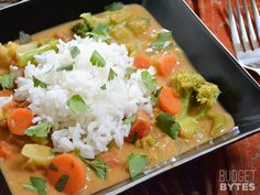Coconut Vegetable Curry. Good not great, but it was fast, filling, cheap and healthy.