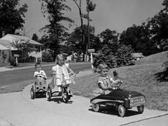 Vintage Cars Boy and Two Girls on Suburban Sidewalk, Riding Tricycle and Toy Cars-H^ Armstrong Roberts-Photographic Print - Vintage Photographs, Vintage Photos, Antique Pictures, The Neighbor, Pedal Cars, The Good Old Days, Tricycle, Back In The Day, Vintage Toys