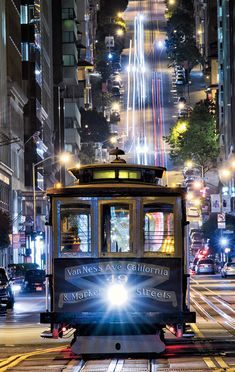 San Francisco's Cablecar at night by Deborah Sandidge - California Feelings San Francisco City, San Francisco California, California Dreamin', Northern California, Great Places, Places To Go, Beautiful Places, Pacific Coast Highway, Cities