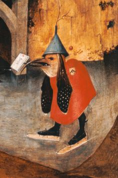 Image: Hieronymus Bosch - Antonius altar detail from the left panel: Letter load-bearing bird