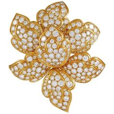 For Sale on - A Van Cleef & Arpels diamond and yellow diamond flower brooch; designed as two rows of petals set alternately with pavé-set diamonds and yellow Geek Jewelry, Hand Jewelry, Jewelry Necklaces, Van Cleef Arpels, Diamond Tops, Uncut Diamond, Diamond Brooch, Diamond Pendant, Diamond Rings
