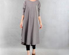 Women Gray Long Dress Round Neck Fall Dresses Long Sleeve Pullover Dress Cotton Robe Plus Size Clothing Fashion Swing Dress (MM056)
