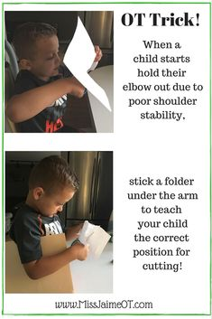 to improve your child's cutting skills -Tips from a pediatric OT OT Hack for Kids Who Stick Out Their Elbow When They Cut with Scissors!OT Hack for Kids Who Stick Out Their Elbow When They Cut with Scissors! Cutting Activities, Motor Skills Activities, Fine Motor Skills, Child Development Activities, Language Development, Preschool Learning, Preschool Activities, Occupational Therapy Activities, Physical Activities