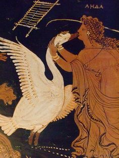 """The constellation Cygnus is associated with the myth of Leda and the Swan.  It is represented here on a terracotta water jar made around 330 BCE in Apulia in Italy.  Leda was the wife of the king of Sparta and the god Zeus seduced her in the guise of a swan. The jar is in the Getty Villa in Malibu, California. Photo: Mary Harrsch. ©Mona Evans, """"Heavenly Aviaries – Bird Constellations"""" http://www.bellaonline.com/articles/art33297.asp"""