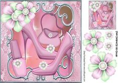 Pretty pink shoes with pretty posies and Accessories on Craftsuprint designed by Nick Bowley - Pretty pink shoes with pretty posies and Accessories 8x8 with topper makes a pretty card, can be seen in other colours - Now available for download!