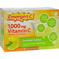 Alacer Emergen-C Vitamin C Fizzy Drink Mix Lemon Lime - 1000 mg - 30 Packets - Alacer Emergen-C Vitamin C Fizzy Drink Mix Lemon Lime Description: 1000 MG Vitamin C Flavored Fizzy Drink Mix 24 Nutrients with Antioxidants, Electrolytes, and 7 B Vitamins Naturally, Its Good For You!Dont worry about prepping your pucker; youre in for a lip-smacking sweet and zingy citrus blast. With each sip, you can feel the 24 nutrients flow through your body in a wave of Emergen-C rejuvenation. If feeling…