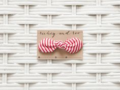 Red Striped Knotted Hair Bow Clip #richeyandroo