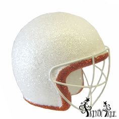 """Football+Helmet+Glittered+Christmas+Ornament+Material:+Styrofoam,+Plastic+Color:+White,+Burnt+Orange+Size:+Approximately+4""""+Has+a+clear+plastic+hanger+(not+visible+in+photo)+ +"""