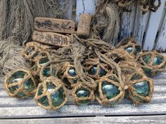 Wow!  This would be amazing hanging in a beach house!!  #glassfishingfloats #glassfloatjunkie #glassfloats #nautical