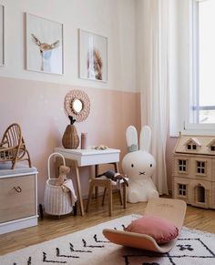We just can't get enough of this gorgeous child's play corner by 👈🏻 featuring the Miffy lamp, Ferm Living KuKu doll bed and… Baby Bedroom, Baby Room Decor, Nursery Room, Ikea Girls Bedroom, Girl Nursery, Bedroom Ideas, Toddler Rooms, Childrens Rooms, Toddler Girls