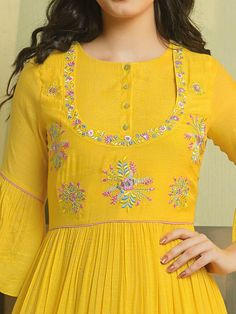 simple designer cotton yellow color kurti order WhatsApp on Embroidery On Kurtis, Kurti Embroidery Design, Embroidery Neck Designs, Embroidery On Clothes, Embroidery Fashion, Kurti Sleeves Design, Kurta Neck Design, Yellow Kurti, Stitching Dresses