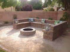 Built in bench with fire pit