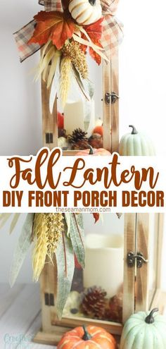 Have you been looking for easy lantern decor ideas? This fall lantern is the perfect fall porch decor! Simply add a few seasonal items inside the lantern and decorate with a cute bow to transform a plain lantern into a beautiful fall lantern decor in minutes! #easypeasycreativeideas #falldecor #fall #fallideas #fallhomedecor #diylantern #falldecorideas #decorations #decorideas #season #DIY #inspiration