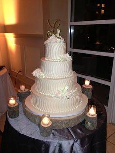 Gorgeous wedding cake on our custom wood wedding cake stand! postscripts.etsy.com