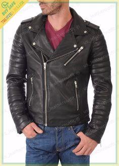 New Mens Genuine Lambskin Leather Jacket Black Slim fit Biker Motorcycle jacket Lambskin Leather Jacket, Leather Men, Real Leather, Black Leather, Riders Jacket, Motorcycle Jacket, Cafe Racer Jacket, Leather Fashion, Men's Fashion