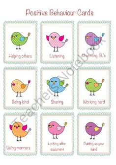 Positive Behavior Cards from Teachers Notebook