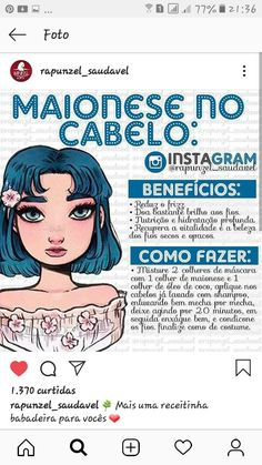 maionese no cabelo - Tipps, Tricks und Hacks Natural Hair Journey, Natural Hair Care, Natural Hair Styles, Beauty Care Routine, Beauty Hacks, Hair Gloss, Hair Care Recipes, How To Make Hair, Pretty Hairstyles