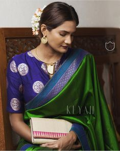 Colour Green and Blue Blouse Material Soft Silk Length Mtrs. Sari Blouse Designs, Saree Blouse Patterns, Indian Blouse, Indian Sarees, Indian Wear, Indian Attire, Kanjivaram Sarees, Silk Sarees, Green Saree