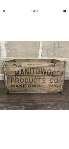 Manitowoc Products Co. Wisconsin Vintage Wooden Crate x x Crate has wear from use and age Vintage Wooden Crates, Decor, Products, Vintage Wood Crates, Decoration, Decorating, Gadget, Deco