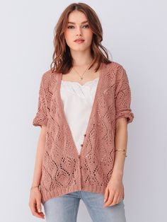 FADETTE vest i Phil Coton 3 Cardigan Rose, Jumpers, Pulls, Christian Dior, V Neck, Knitting, Crochet, Sweaters, How To Wear