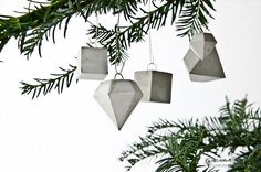 8 Geometric Concrete Ornaments Holiday Concrete Decor by PASiNGA