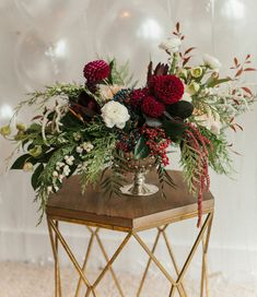 Flowers by Lace and Lilies - holiday engagement session, Christmas Flowers, Burgundy and Green, Dahlias, holiday decor, Merry + Bright