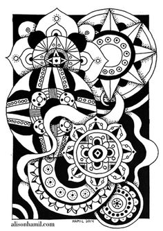 Zentangle Circles No. 2, Ink on Paper, 6x8.5