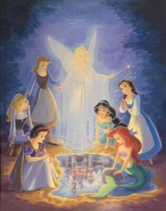 Disney princesses gathering Snow White,jasmine,mermaid,Cinderella