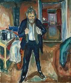 Edvard Munch - Sleepless night. Self-Portrait in inner turmoil, 1919