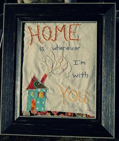 Sew Homegrown: Home ~ Sweet piece of art for the wall Christmas Crafts For Gifts, Craft Gifts, Diy Gifts, Best Embroidery Machine, Sewing Machine Quilting, Diy Sewing Projects, Fun Projects, Sewing Ideas, Crafts To Make