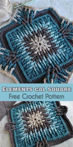 EN PDF Elements Cal Square for Blankets, Pillows, Centrepieces [Free Crochet Pattern]Elements Cal started in December 2017 and has been a hit ever since then. Elements Cal started in December 2017 and has been a hit ever since then.Elements Cal startete i Crochet Motifs, Crochet Blocks, Granny Square Crochet Pattern, Afghan Crochet Patterns, Crochet Squares, Crochet Granny, Crochet Stitches, Crochet Baby, Knitting Patterns