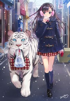 tiger and girl headphone anime. it reminds me of the tigers curse book series. Hmmmm...