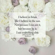 """I believe in Islam like I believe in the sun. Not because I can see it, but because by it, I can see everything else."""
