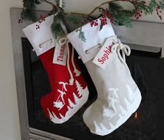 Personalised Christmas Stocking in red with Santa sleigh by HoneysuckleandLime on Etsy