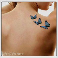 Temporary Tattoo 3D Butterflies Fake Tattoo by UnrealInkShop