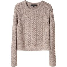 Rag & Bone Montgomery Crop Sweater (€220) ❤ liked on Polyvore featuring tops, sweaters, shirts, jumpers, women, crew neck shirts, crew neck sweaters, merino wool shirt, pullovers and brown long sleeve shirt