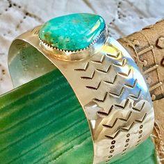 Navajo en argent Sterling manchette Turquoise Bracelet - Bracelets manchettes, Vintage, signé Navajo