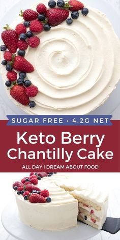 Keto Berry Chantilly Cake is a tender vanilla layer cake with fresh berries and a rich chantilly cream frosting. This nut free keto cake is a summer classic!
