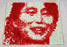 Portrait of Aung San Suu Kyi Made Out of 2,000 Colored Flowers