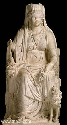 """RHEA-KYBELE  Museum Collection:The J. Paul Getty Museum, Malibu, California, USA  Catalogue Number:Malibu 57.AA.19 Title:""""Cybele"""" Class: Free-standing statue Material:Marble Height:1.62 metres  Context:Discovered in Rome  Original / Copy:-- Style:-- Date:ca 50 AD  Period:Imperial Roman"""