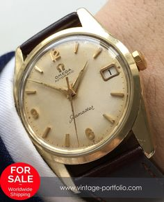 Gold plated Omega Seamaster Automatic watch with Date #omegaseamaster #seamaster #omegawatches