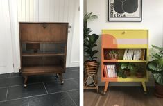 How to give a mid-century cabinet a colour blocking makeover Chic Master Bedroom, Mid Century Cabinet, Butterfly House, Living Room Update, Front Rooms, Dining Room Walls, Bedroom Green, Guest Bedrooms, Annie Sloan