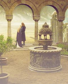 """But my heart says nay; and all my limbs are light, and a hope and joy are come to me that no reason can deny. Eowyn, Eowyn, White Lady of Rohan, in this hour I do not believe that any darkness will endure!"" And he stooped and kissed her brow.   And so they stood on the walls of the City of Gondor, and a great wind rose and blew, and their hair, raven and golden, streamed out mingling in the air."
