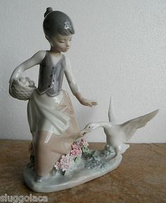 Lladro Retired Figurine 1288 Aggressive GOOSE Girl w GOOSE Eggs   eBay