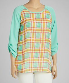 Another great find on #zulily! Mint Plaid Scoop Neck Top - Plus #zulilyfinds